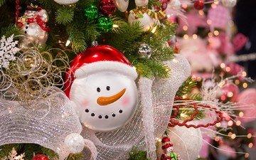 новый год, елка, снеговик, рождество, елочные игрушки