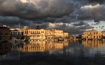 небо, облака, зима, отражение, море, город, лодки, греция, порт, утром, theophilos papadopoulos, ретимно, крит