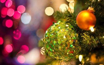 новый год, елка, шары, рождество, гирлянда