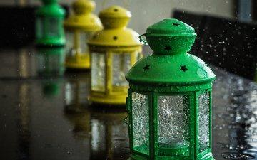 фонари, капли, фонарь, дождь, свеча, фонарики, лампы
