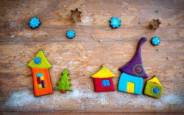 домики, пластилин, декор, деревянная поверхность, evgenija lanz