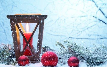 новый год, фонарь, свеча, рождество, елочные игрушки, декор