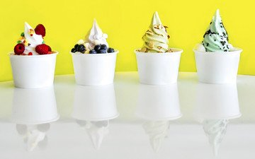 мороженое, ягоды, десерт, йогурт