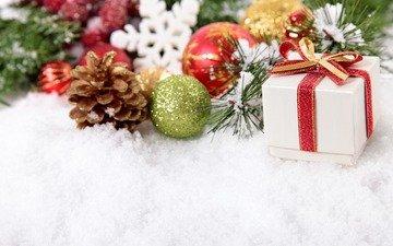 новый год, подарок, рождество, елочные игрушки