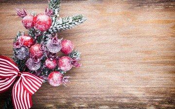 ветка, новый год, елка, ягоды, рождество, елочные игрушки, бант