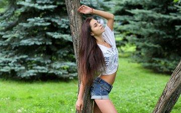 nature, girl, brunette, model, figure, shorts