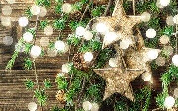 новый год, елка, звезды, рождество, шишки
