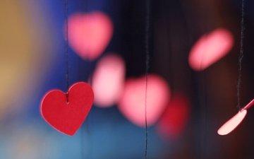 размытость, сердце, любовь, сердечки, нитки