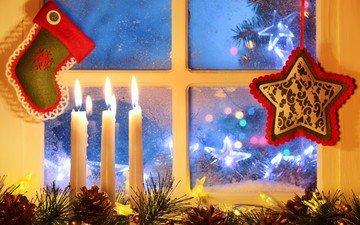 свечи, новый год, окно, рождество, шишки