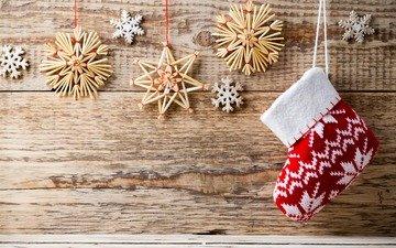 новый год, украшения, снежинки, рождество, носок, сапожок