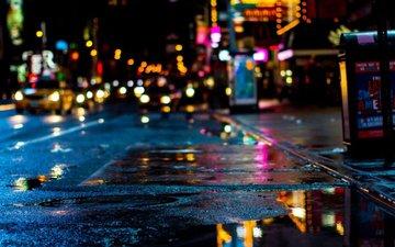 ночь, огни, отражение, город, сша, нью-йорк, лужа, городской пейзаж, таймс сквер