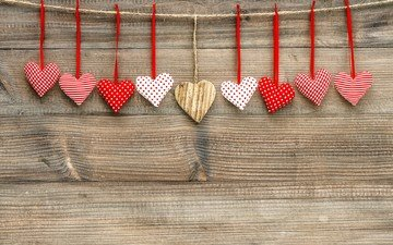 heart, rope, hearts, thread, wooden surface