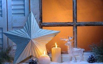 свечи, новый год, олень, звезда, окно, рождество, шишки