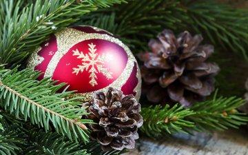 новый год, елка, хвоя, шар, рождество, шишки, елочные игрушки
