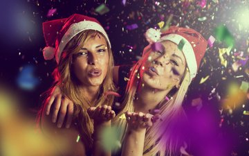 новый год, настроение, взгляд, девушки, волосы, лицо, праздник, вечеринка