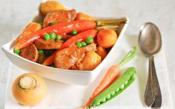 овощи, мясо, горох, морковь, репа