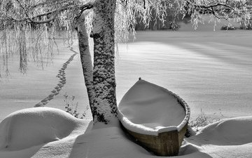 river, snow, nature, winter, boat, traces, birch