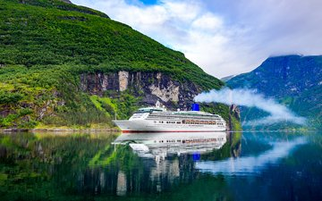 the sky, clouds, rocks, reflection, ship, the ship, cruise liner