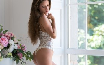 flowers, girl, model, window, figure, posing, brown hair