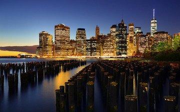 ночь, огни, город, сша, нью-йорк