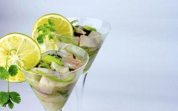 лимон, бокалы, рыба, авокадо, морепродукты, delisgh, севиче