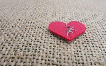 сердечко, сердце, шов, разбитое сердце, мешковина