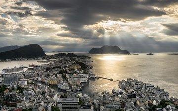 тучи, море, город, норвегия, олесунн