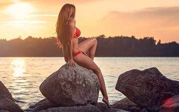 stones, sunset, girl, sea, model, bikini, brown hair