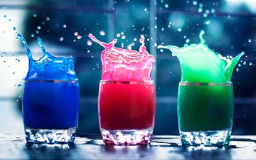 water, squirt, splash, glasses, color