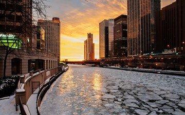река, зима, город, лёд, сша, чикаго
