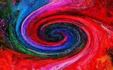 абстракция, цвета, узор, цвет, форма, спираль, живопись, ураган