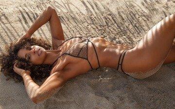 girl, pose, sand, beach, model, bikini