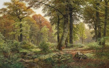 art, figure, trees, nature, forest, deer, landscape