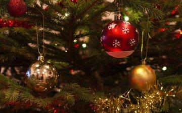 новый год, елка, шары, рождество, елочные игрушки, мишура