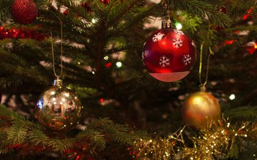 new year, tree, balls, christmas, christmas decorations, tinsel