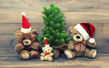 new year, tree, bears, toys, christmas, teddy bears
