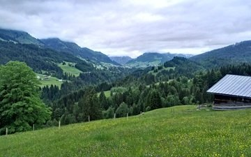 trees, mountains, landscape, house, valley, germany