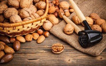 nuts, hazelnuts, almonds, burlap, walnuts