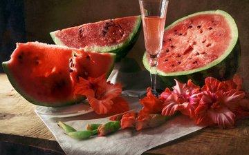 drink, flower, board, glass, watermelon, slices, napkin, gladiolus, anastasia soloviova