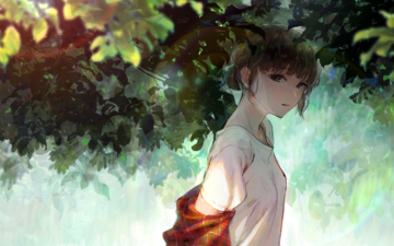 leaves, summer, short hair, anime girl, tree