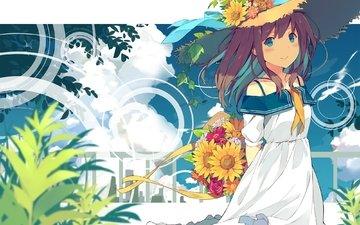 облака, цветы, summer dress, аниме девочка, соломенная шляпа
