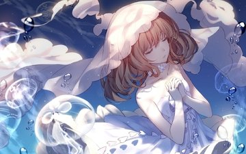 bride, jellyfish, blonde, closed eyes, wedding dress, anime girl, \