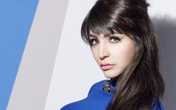 girl, brunette, look, hair, face, actress, anushka sharma, anouska sharma