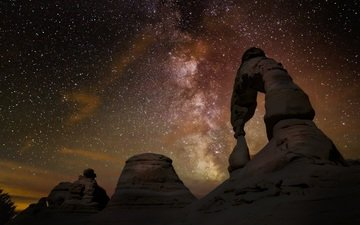 night, rocks, nature, stars, canyon, arch, the milky way