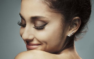 girl, smile, model, face, actress, singer, makeup, closed eyes, ariana grande