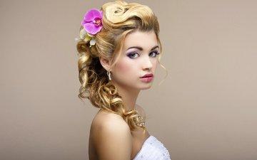 девушка, взгляд, волосы, лицо, макияж, прическа, невеста, голые плечи