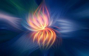 свет, абстракция, линии, цветок, узор, цвет, огонь, форма