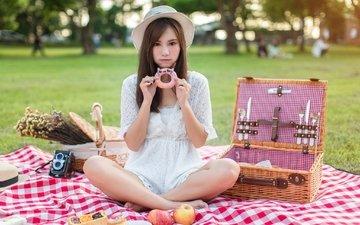 mädchen, äpfel, blick, modell, haare, gesicht, hut, asiatin, donut, picknick, bokeh
