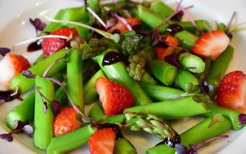 strawberry, berries, vegetables, sauce, salad, asparagus
