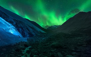 night, mountains, rocks, stones, northern lights, iceland, glacier
